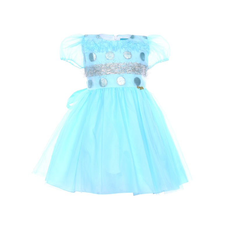 Angels Luxury Kidswear Dotted Feather Dress for Girls, Light Blue