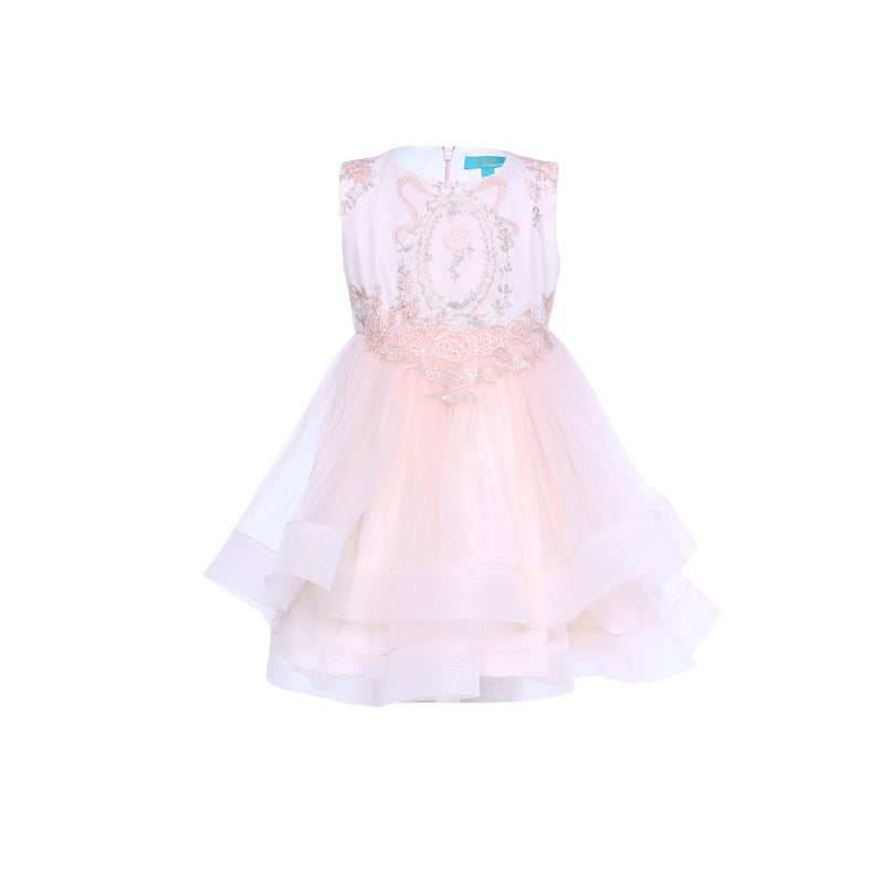 Angels Luxury Kidswear Girls Peach Mirror Layered Dress  for Girls, Peach