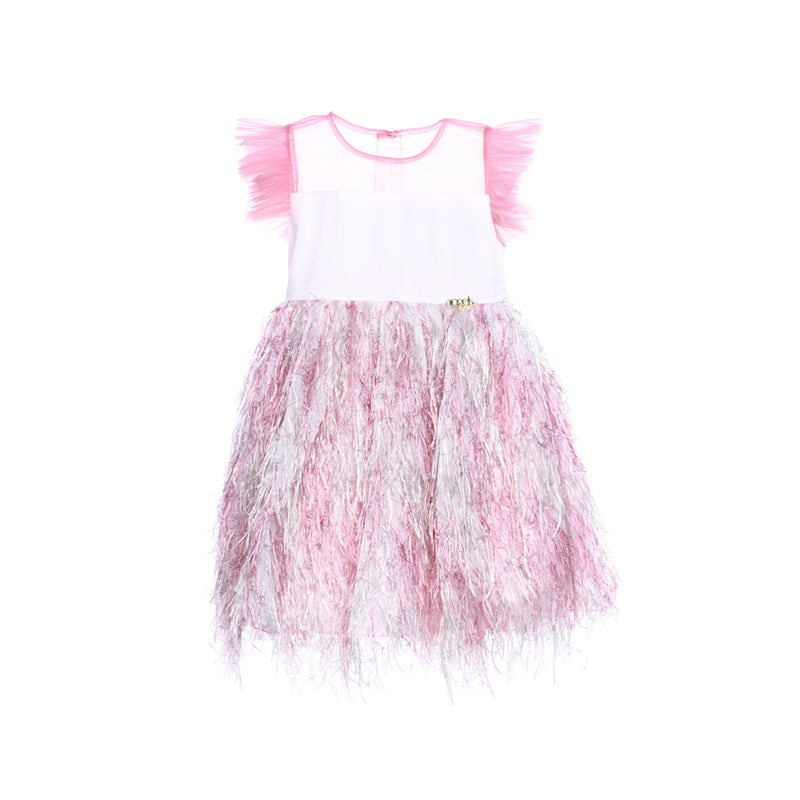 Angels Luxury Kidswear Golden Feather Dress for Girls, Pink