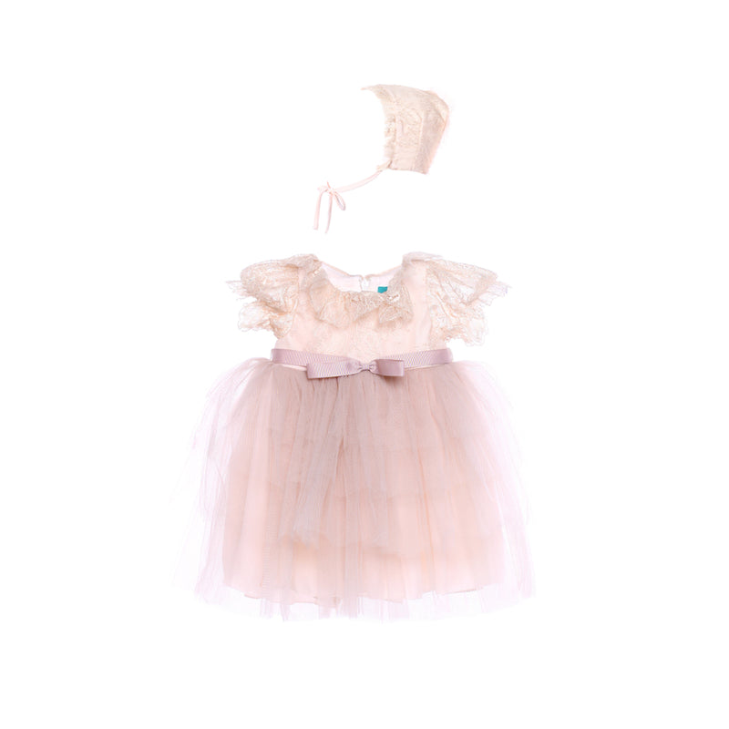 Angels Luxury Kidswear Baby Dress With Hat  for Girls, Peach