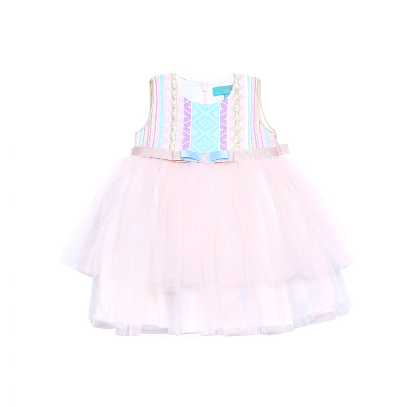 Angels Luxury Kidswear Baby Brocade Tulle Dress for Girls, Blue/Pink