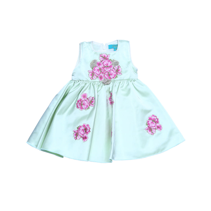 Angels Luxury Kidswear Baby Dreen Satin W/ Applique Flowers for Girls, Green