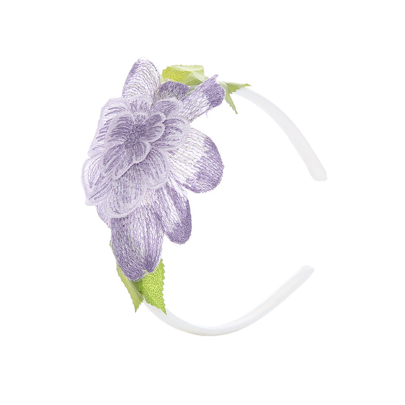 Angels Luxury Kidswear FLOWER W/ CRYSTAL HAIRBAND for Girls, Purple