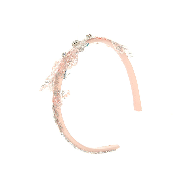 Angels Luxury Kidswear Lace With Crystal Hairband  for Girls, Peach
