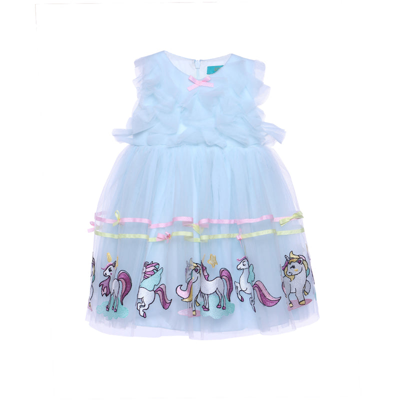 Angels Luxury Kidswear Baby Unicorn Dress for Girls, Light Blue
