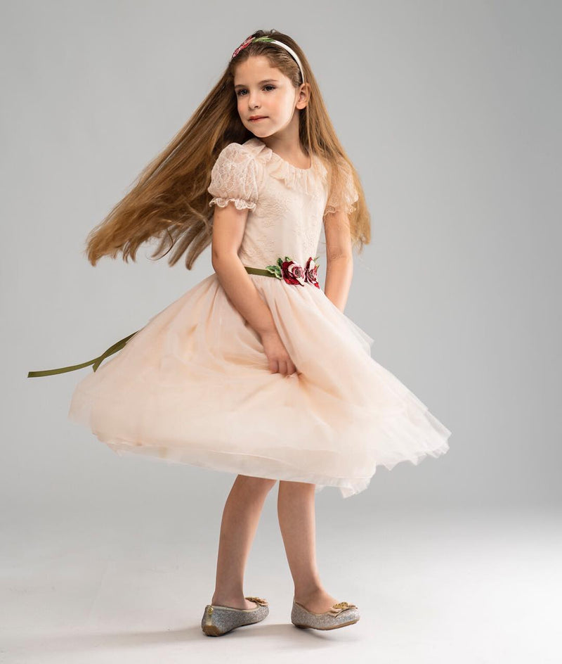 Angels Luxury Kidswear Tulle Lace Dress With Flower Belt  for Girls, Natural
