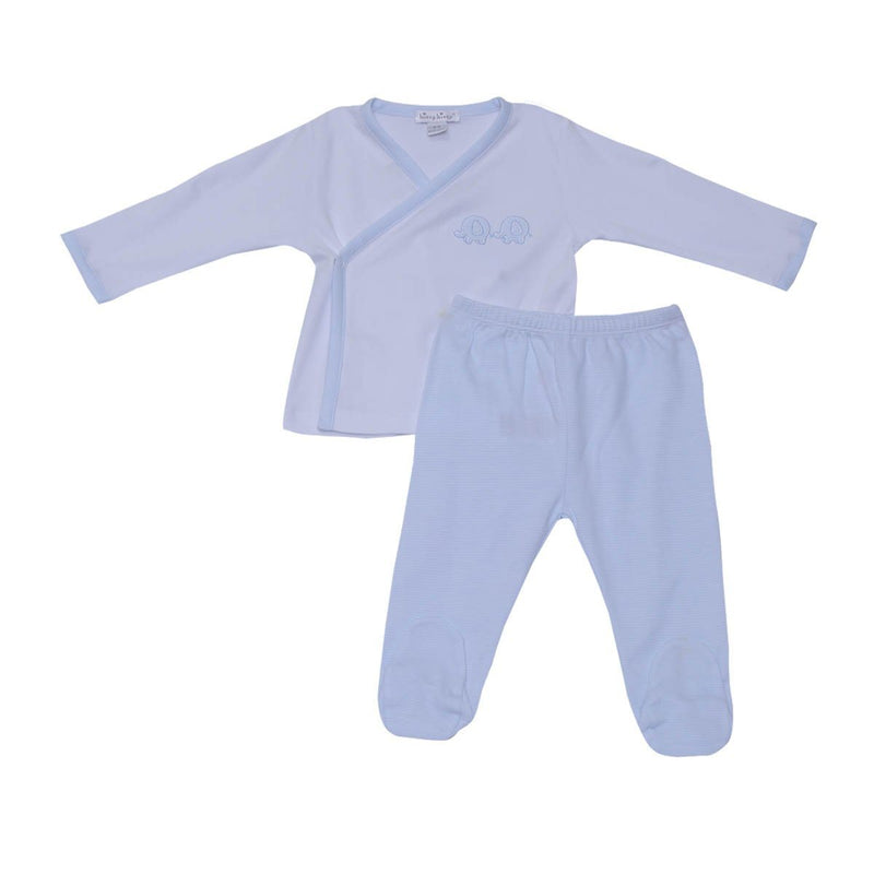 Kissy Kissy - Footed Pant Set-Trunk Mates For Baby Boys, White/ Light Blue