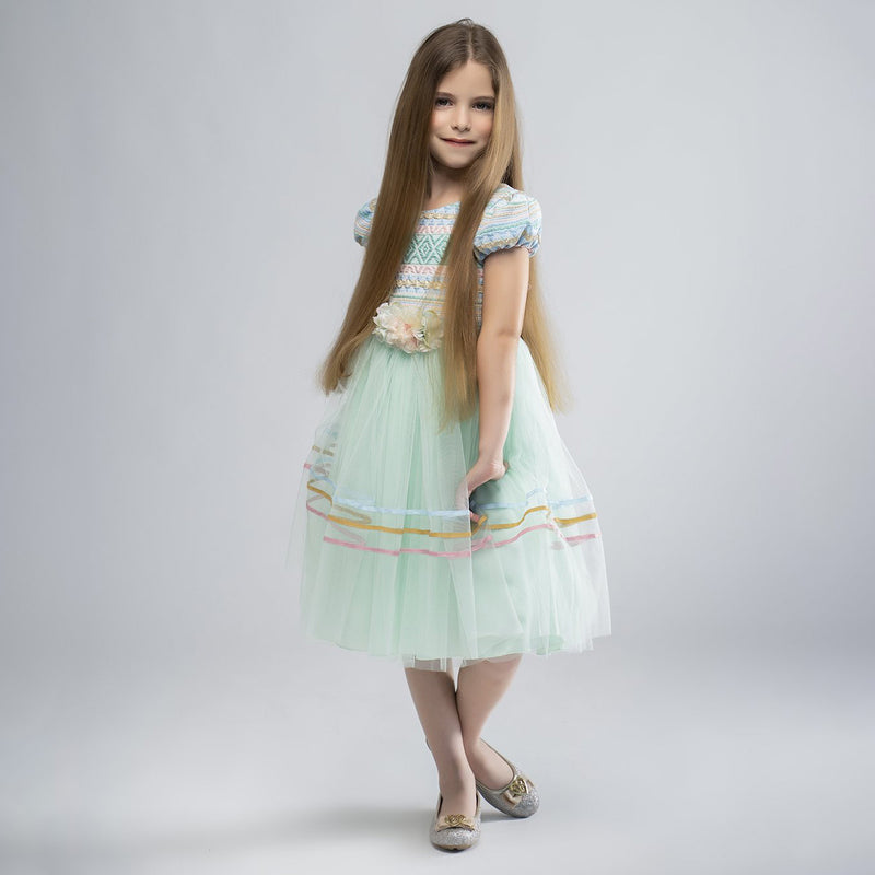 Angels Luxury Kidswear Girls Brocade Green Tulle Dress for Girls, Green