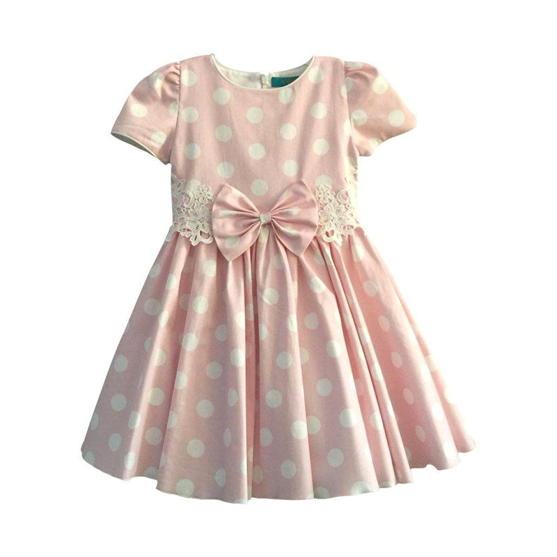 Angels Luxury Kidswear Polka Dot Dress for Girls, Pink