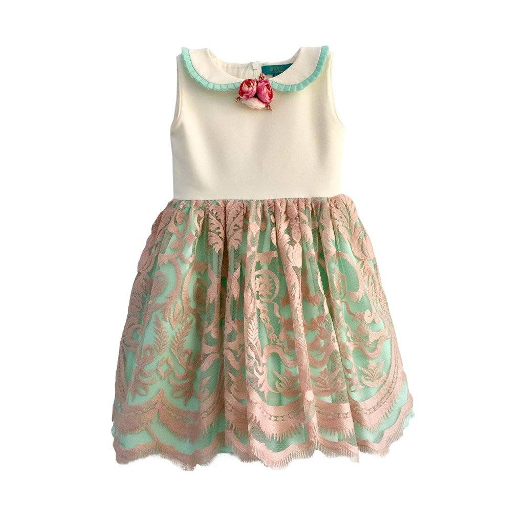 Angels Luxury Kidswear Sleeveless Lace Dress with Brooch for Girls, Pink