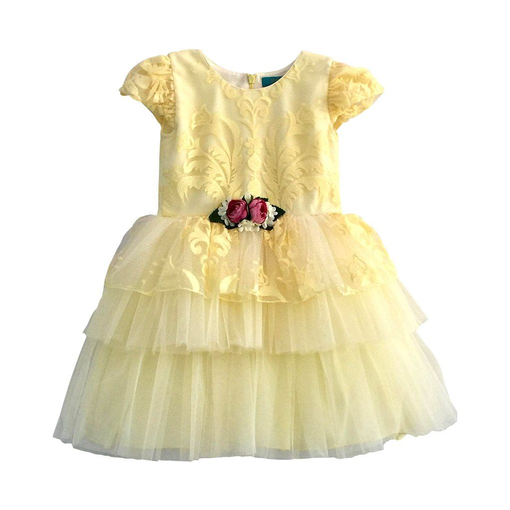 Angels Luxury Kidswear Layered Dress with Brooch for Girls