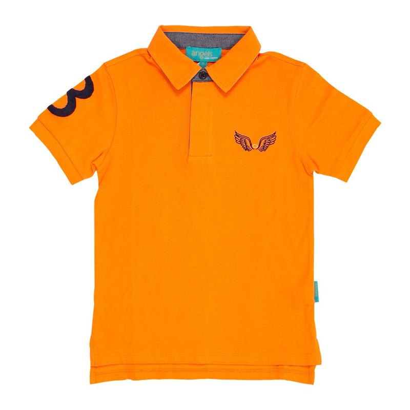 Angels Luxury Kidswear Oxford Polos For Boys, Orange