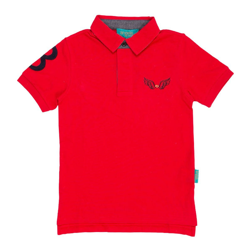 Angels Luxury Kidswear Oxford Polos For Boys, Red
