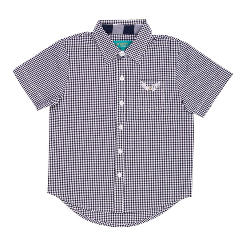 Angels Luxury Kidswear Check Shirt For Boys, Navy Blue