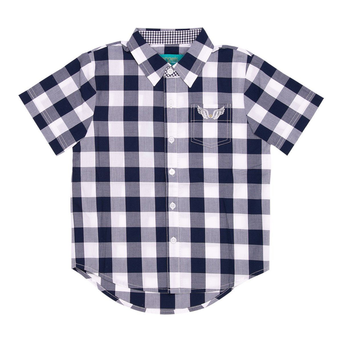 Angels Luxury Kidswear Check Shirt For Boys, Navy Blue/ White