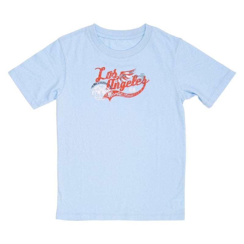 Angels Luxury Kidswear Round Neck Graphic T-Shirt - Los Angeles, Blue