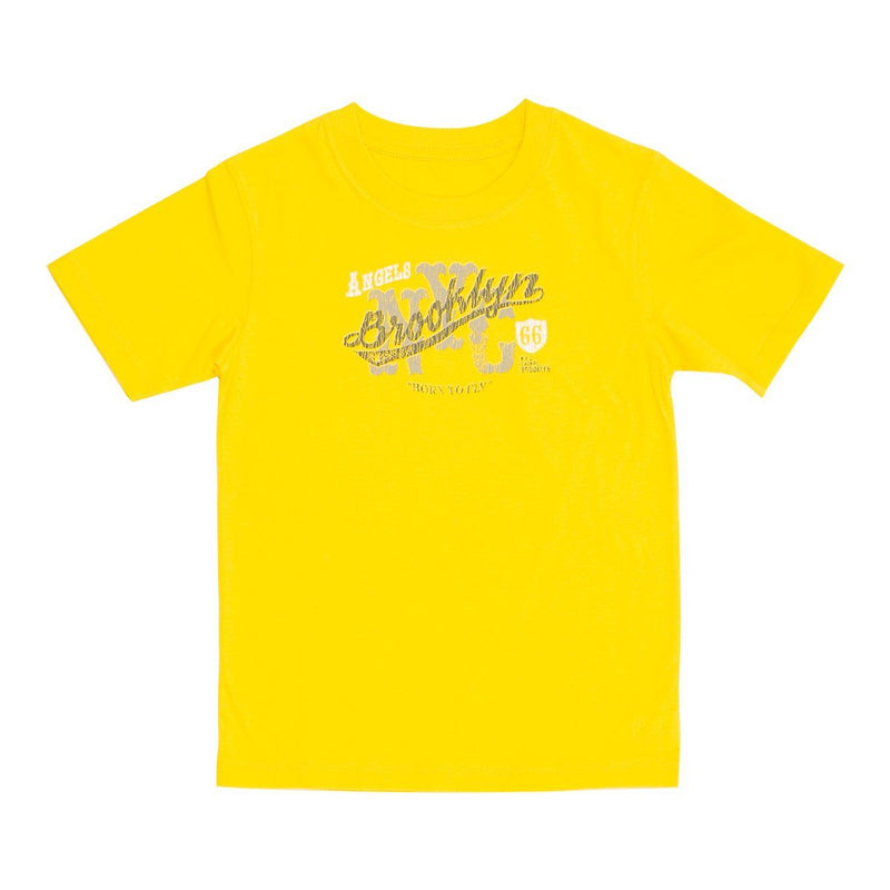 Angels Luxury Kidswear Round Neck Graphic T-Shirt - Brooklyn, Yellow