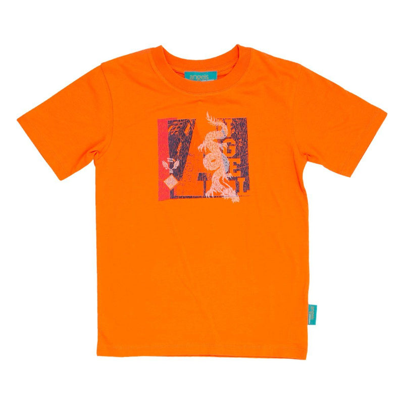 Angels Luxury Kidswear Round Neck Graphic T-Shirt - Dragon, Orange