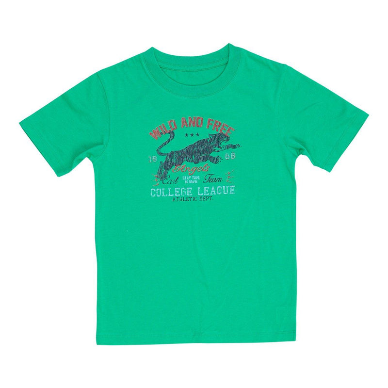Angels Luxury Kidswear Round Neck Graphic T-Shirt - Wild & Free, Green