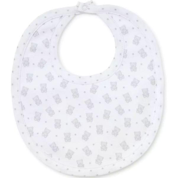 Kissy Kissy - Reversible Bib Beloved Bears Unisex, Silver