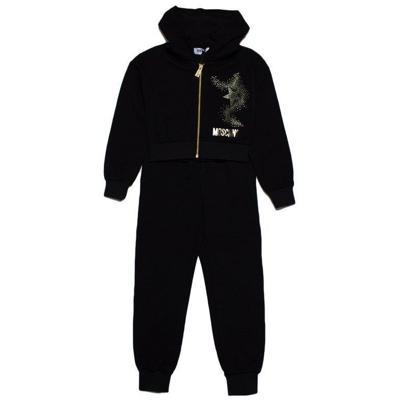 Moschino Sweatshirt and Trouser Set For Girls, Black