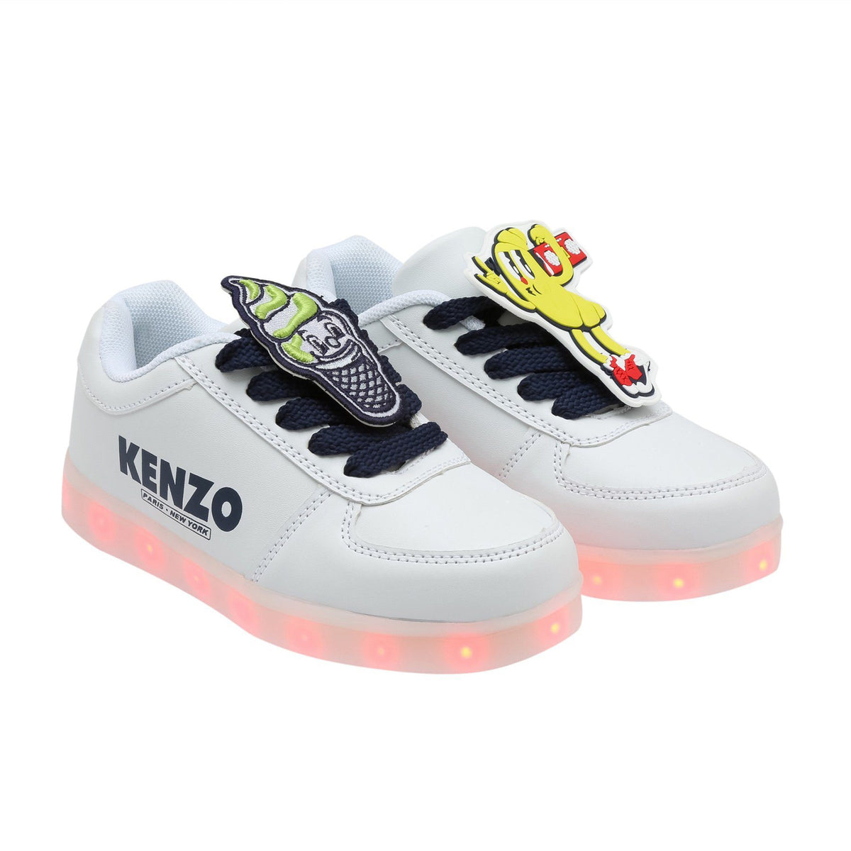 Kenzo Light-up LED Doopy Shoes for Boys, White