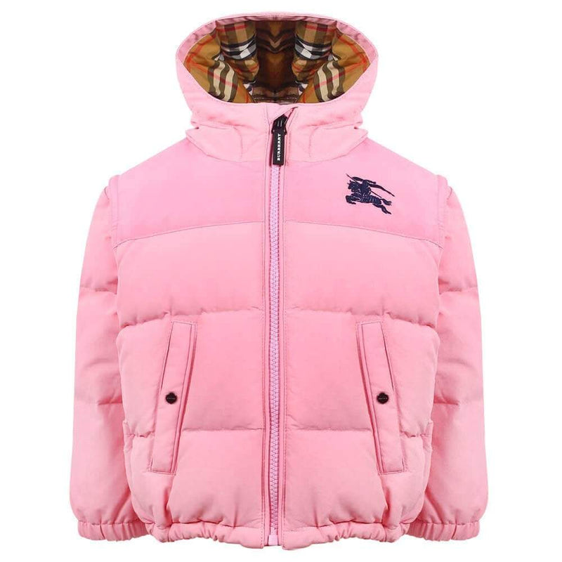 Burberry Puffer Jacket For Girls, Light Pink