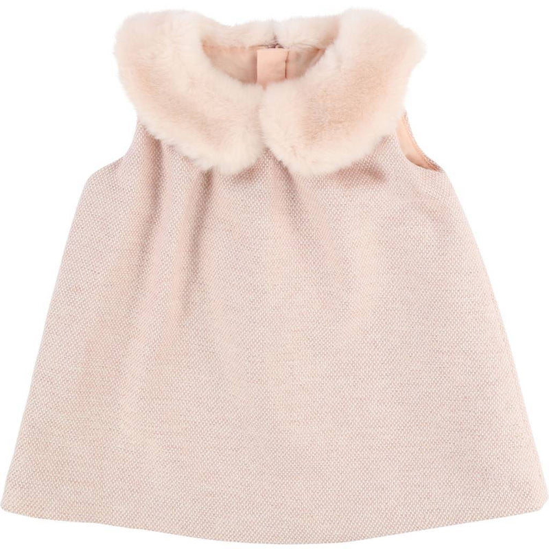 Chloe - Fur Neck Dress For Girls, Peach