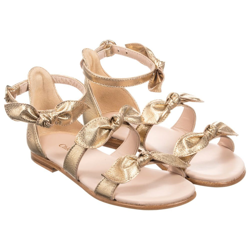 Chloe Iridescent leather sandals for Girls