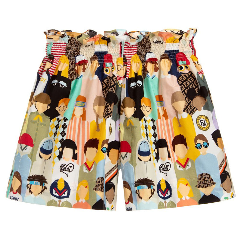 Fendi Girl Popeline Short for Girls