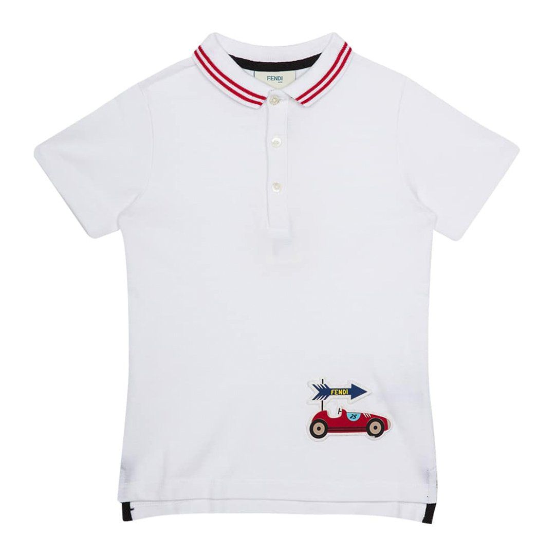 Fendi - Piquet Polo For Boys, Cotton, White