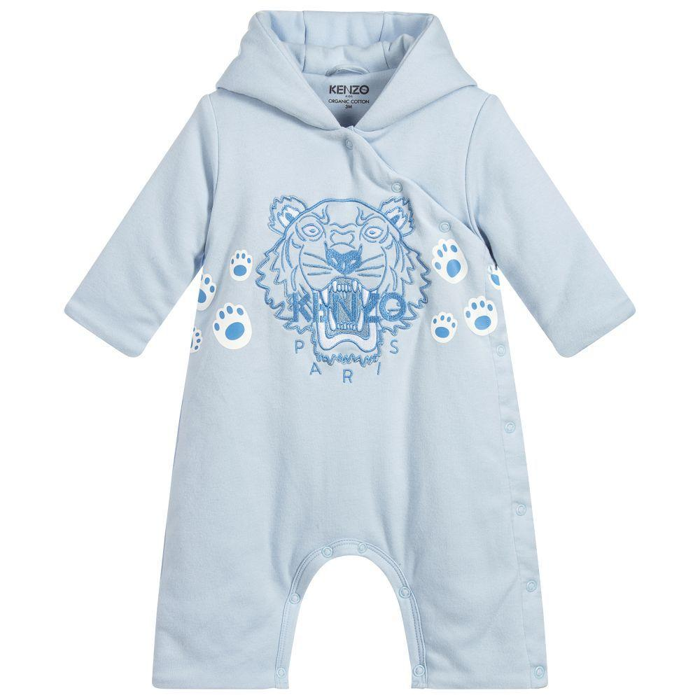 Kenzo Tiger NB 4- All In One Body Suit For Baby Boys, Light Blue