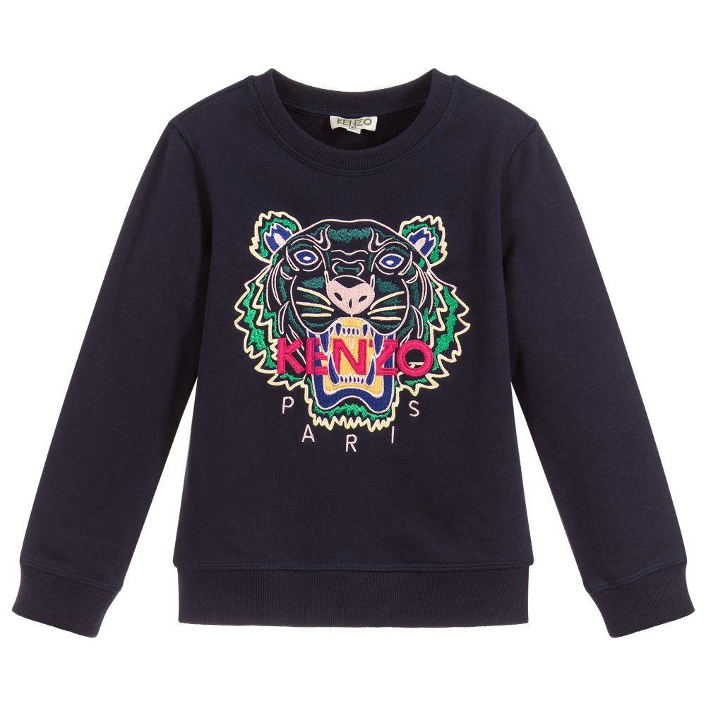 Kenzo Tiger Sweatshirt For Girls, Dark Blue