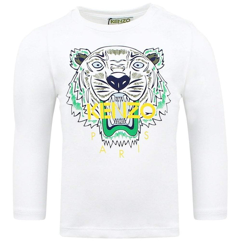 Kenzo T-Shirt Tiger JB2 BB for Baby Boys, White