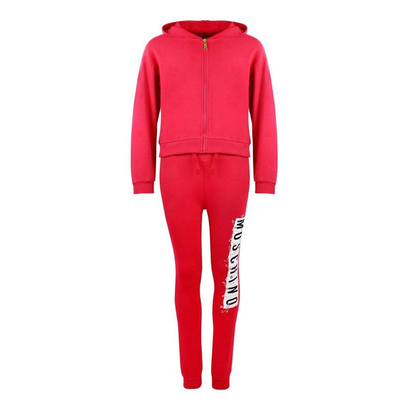 Moschino Zipped Sweatshirt and Trouser Set For Girls, Red