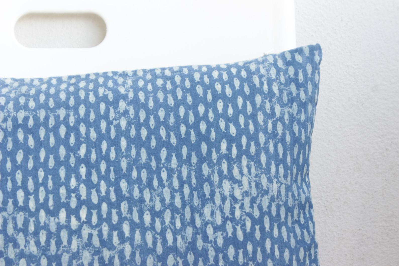 Indigo Block Print Pillow Cover - 12x20