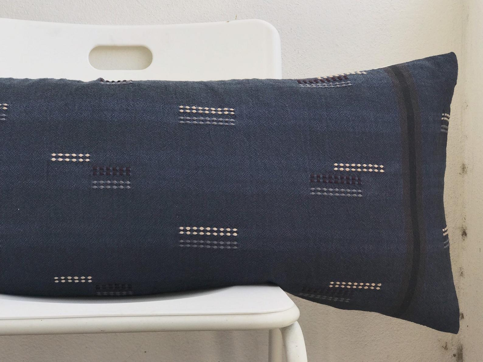 Blue Indigo Striped Lumbar Pillow Cover - 14x36