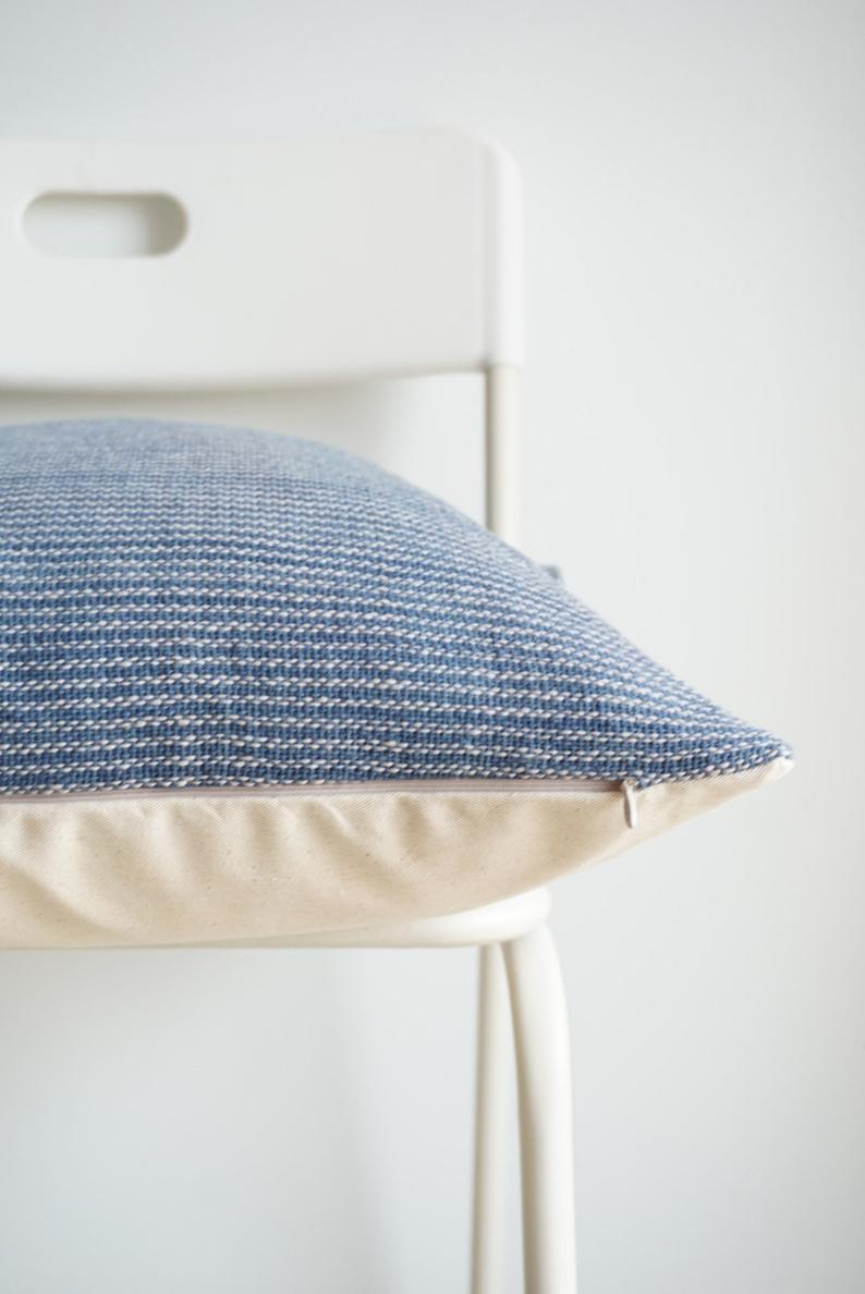 Blue Cream Striped Woven Pillow Cover - 20x20