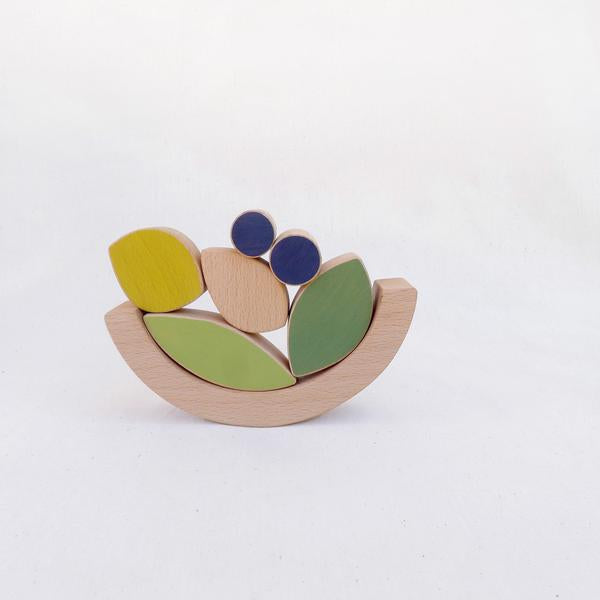 Leaves and Blueberries - Stacking & Balancing Toy - Woodynationkids