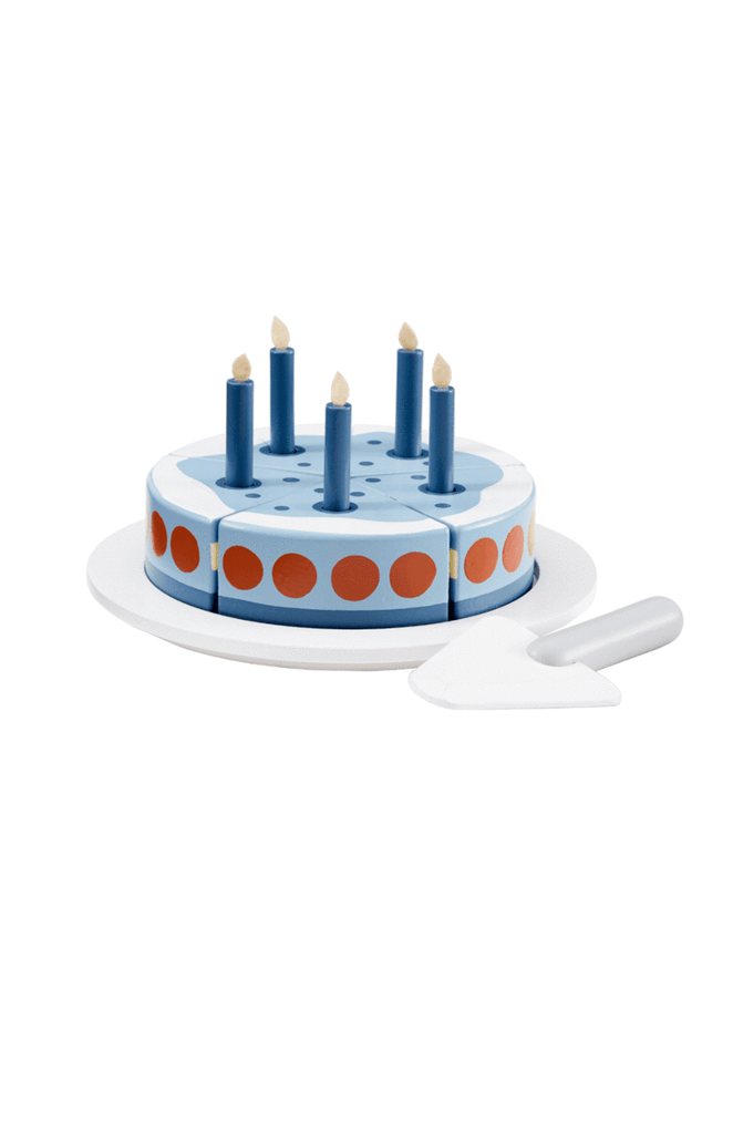 Wooden Birthday Cake - Blue