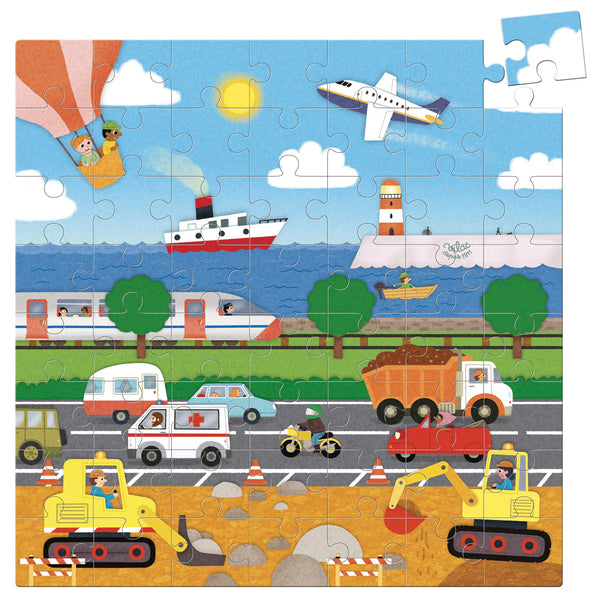 Transportation Cardboard Puzzle (56pcs) - Woodynationkids