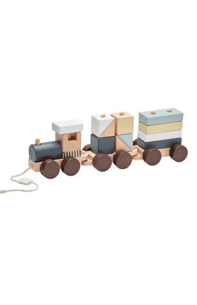 Wooden block train - natural