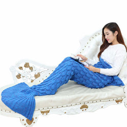 Hand crafted Knitted Mermaid Tail Blanket