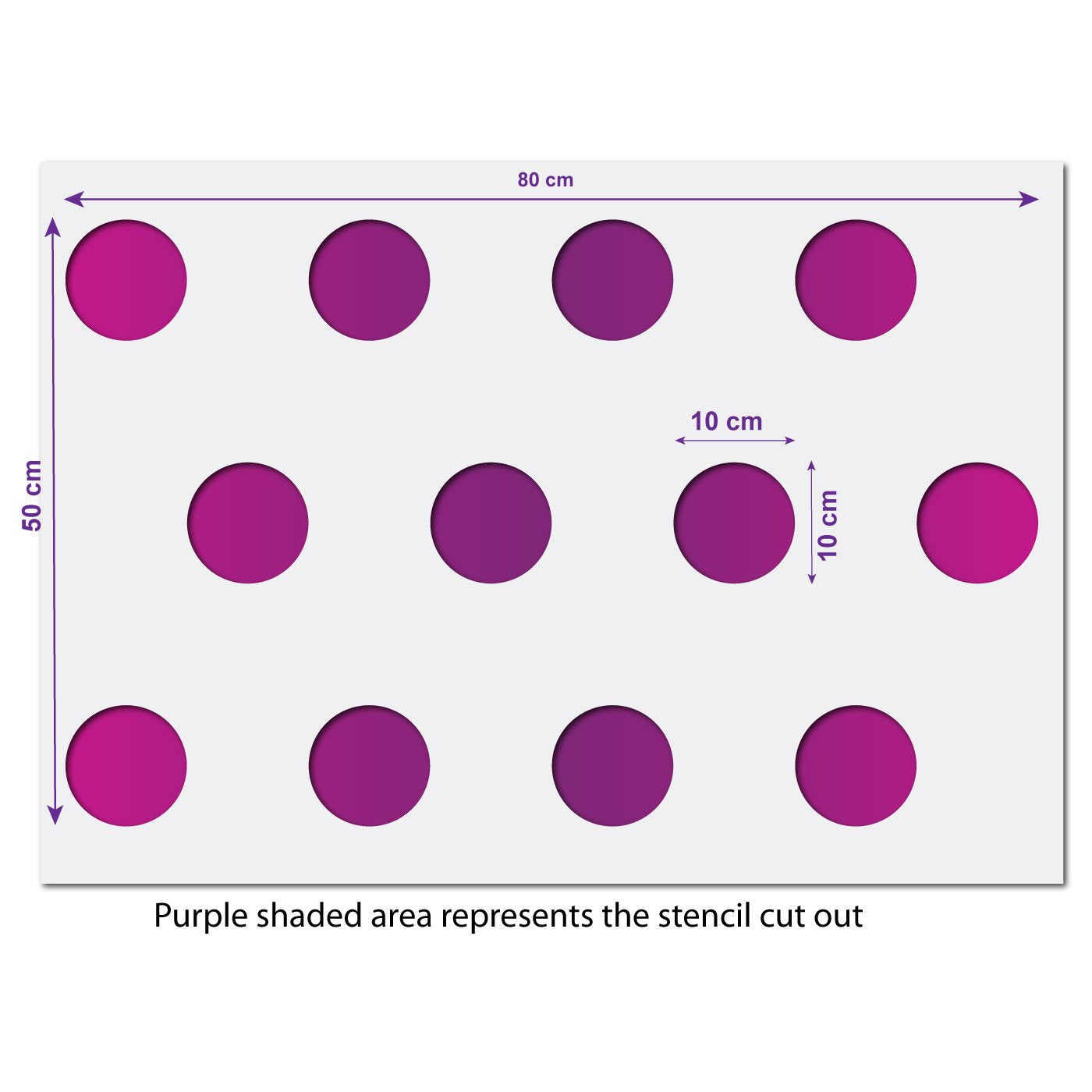 Large Polka Dot Pattern Wall Stencil Size Guide