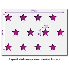 CraftStar Large Star Repeating Pattern Wall Stencil - Size Guide