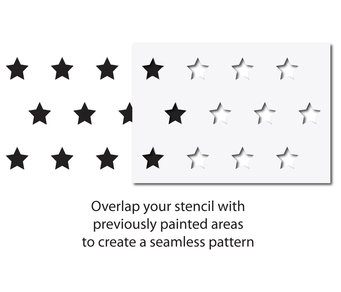 CraftStar Large Star Repeating Pattern Wall Stencil - Alignment Guide