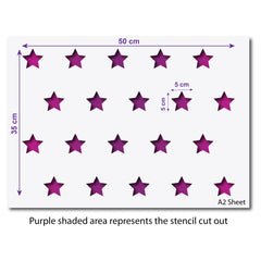 CraftStar Small Stars Repeating Pattern Stencil - A2 Size