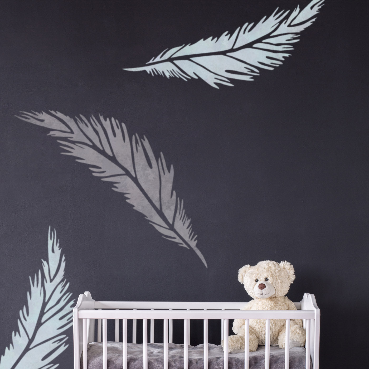 CraftStar Feather Stencil on Nursery Wall