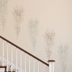 Peacock Feather Wall Stencil