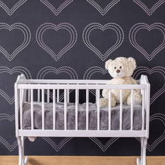 CraftStar Geometric Dot Heart Stencil - Repeated Pattern in Nursery